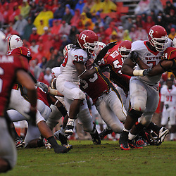 Sep 26, 2009; College Park, MD, USA; Rutgers cornerback Jawann Westerman (33) stops Rutgers running back Jourdan Brooks (39) on a goal line stand during the second half of Rutgers' 34-13 victory over Maryland in NCAA college football at Byrd Stadium.