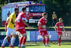 Firefighters during football match between NK Aluminij and NK Bravo in 32. Round of Prva liga Telekom Slovenije 2019/20, on July 8, 2020 in Sportni park NK Aluminij Stadion, Kidricevo, Slovenia. Photo by: Milos Vujinovic /Sportida
