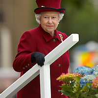 Bradford 24th May 2007 HM Queen Elizabeth II and HRH Duke of Edinburgh visit Bradford. During the visit HM opened the new £3Million Hindu Temple and receievbd floral tribute by Ldydia Beshevinsky, her mother Sarah was the 38 years old PC was killed  after arriving at robbery in November 06
