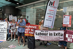 London, UK. 20th July, 2021. Mike Cushman of Jewish Voice for Labour addresses supporters of left-wing Labour Party groups at a protest lobby outside the party's headquarters. The lobby was organised to coincide with a Labour Party National Executive Committee meeting during which it was asked to proscribe four organisations, Resist, Labour Against the Witchhunt, Labour In Exile and Socialist Appeal, members of which could then be automatically expelled from the Labour Party.