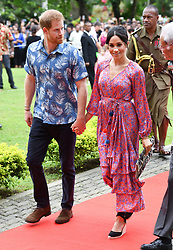 Prince Harry Duke of Sussex and Meghan Duchess of Sussex arrive at the University South Pacific Campus, Suva, Fiji. Photo credit should read: Doug Peters/EMPICS