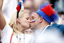 Russian fans kissing during the 2018 FIFA World Cup Russia round of 16 match between Spain and Russia at the Luzhniki Stadium on July 01, 2018 in Moscow, Russia
