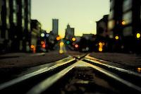 San Francisco streetcar track, California Ave at Van Ness.