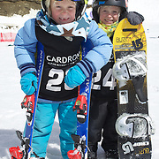 Twins, Finley, (left) and Campbell Melville-Ives, 5, from Wanaka, who are competing in the Grommet events during the Snow Sports NZ Junior Freeski and Snowboard Nationals at Cardrona Alpine Resort, Wanaka,  New Zealand, 27th September 2011. Photo Tim Clayton.