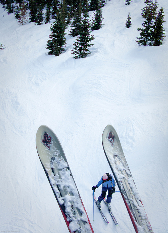 The view between skis on Telluride's Lift 12.