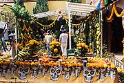 Believers worship at the La Casa De La Santa Muerte or House of the Saint of the Dead November 1, 2017 in Santa Ana Chapitiro, Michoacan, Mexico.