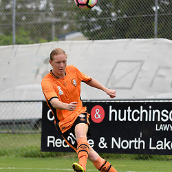 BRISBANE, AUSTRALIA - DECEMBER 10: Kye Rowles of the Roar kicks the ball during the round 5 Foxtel National Youth League match between the Brisbane Roar and Adelaide United at AJ Kelly Field on December 10, 2016 in Brisbane, Australia. (Photo by Patrick Kearney/Brisbane Roar)