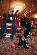 Nobuyuki Idei,president of Sony and George Lucas, founder of Industrial Light and Magic at Las Vegas Computer Show with Sony robotic dog called Aibo.