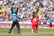 Lancashires Arron Lilley LBW during the Vitality T20 Finals Day semi final 2018 match between Worcestershire Rapids and Lancashire Lightning at Edgbaston, Birmingham, United Kingdom on 15 September 2018.