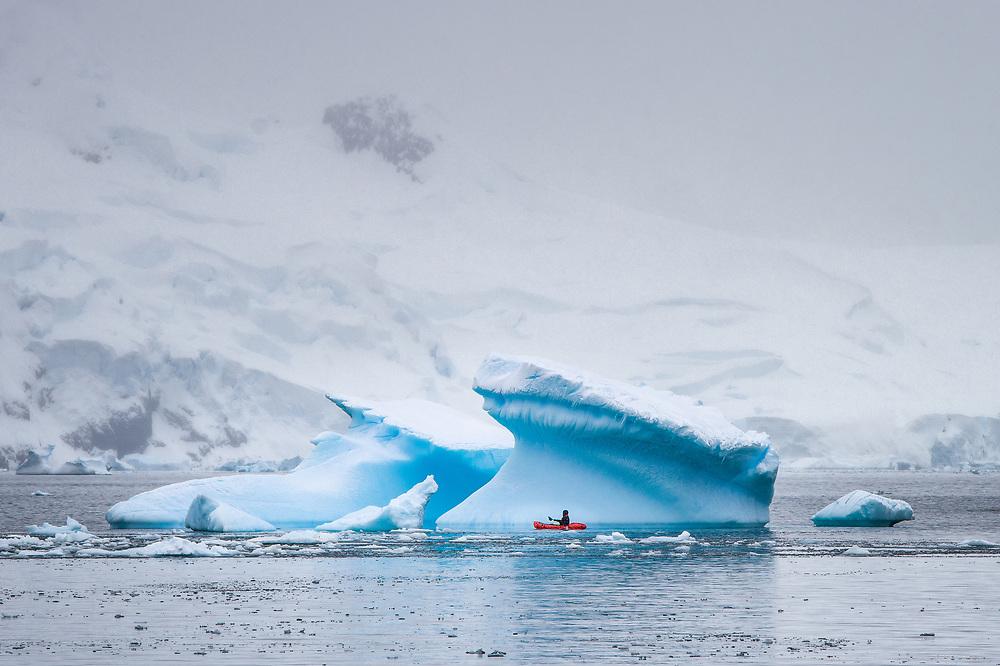 Packrafting at Enterprise Island, Antarctica