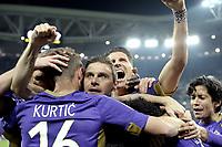 Esultanza giocatori Fiorentina dopo gol 1-2, goal celebration,<br /> Torino 05-03-2015, Juventus Stadium, Football Calcio 2014/2015 Coppa Italia, semifinale, Juventus - Fiorentina, Foto Filippo Alfero/Insidefoto