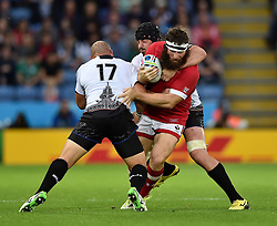 Hubert Buydens of Canada is tackled - Mandatory byline: Patrick Khachfe/JMP - 07966 386802 - 06/10/2015 - RUGBY UNION - Leicester City Stadium - Leicester, England - Canada v Romania - Rugby World Cup 2015 Pool D.