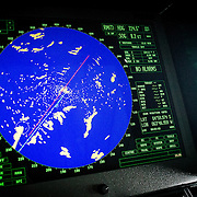 A radar screen showing icebergs in the Lemaire Channel in Antarctica.