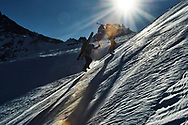Ski lifestyle and action shoot for Pure Freeride Design hand made bamboo ski company. Shot on location at the legendary La Grave off piste ski area in Isere, france.