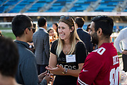 Hayley Di Naso of the San Francisco 49ers socializes during the Silicon Valley Business Journal 40 Under 40 event at Avaya Stadium in San Jose, California, on July 31, 2018. (Stan Olszewski for Silicon Valley Business Journal)