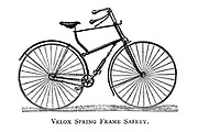 Velox Spring Frame Safety Bicycle From Wheels and Wheeling; An indispensable handbook for cyclists, with over two hundred illustrations by Porter, Luther Henry. Published in Boston in 1892