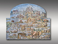 Pictures of the famous Nilotic landscape Palestrina Mosaic or Nile mosaic of Palestrina of the Museo Archeologico Nazionale di Palestrina Prenestino  (Palestrina Archaeological Museum), Palestrina, Italy. Measuring 5.85 m wide by 4.31 m high ( 19 ft wide x 14 ft high). 1st or 2nd century BC.<br /> <br /> The Nile mosaic of Palestrina can be attributed to Alexandrian artists who were certainly present in Italy during the 2nd century BC. The mosaic depicts the Nile in flood and artificially compresses the length of the river into a series of zig zags. The top part of the mosaic represents Ethiopia and Nubia at the source of the Nile. The river flows down steep slopes between black hunters and African animals. The Nile flows to the bottom right hand corner of the mosaic where the harbour of Alexandria is depicted and right in the bottom right corner is the Island of the Pharos opposite which is a banqueting scene, possibly at Canopus. <br /> <br /> In the centre of the mosaic is a large Egyptian temple possibly the great sanctuary of Memphis or Karnak. The Mosaic though is dotted with Greek temples of the Greek ruling Ptolemy family who displaced the Pharos. .<br /> <br /> If you prefer to buy from our ALAMY PHOTO LIBRARY  Collection visit : https://www.alamy.com/portfolio/paul-williams-funkystock/roman-mosaic.html - Type -   Palestrina   - into the LOWER SEARCH WITHIN GALLERY box. Refine search by adding background colour, place, museum etc<br /> <br /> Visit our ROMAN MOSAIC PHOTO COLLECTIONS for more photos to download  as wall art prints https://funkystock.photoshelter.com/gallery-collection/Roman-Mosaics-Art-Pictures-Images/C0000LcfNel7FpLI