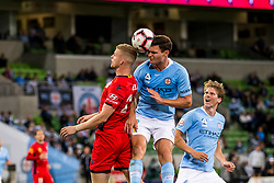February 9, 2019 - Melbourne, VIC, U.S. - MELBOURNE, AUSTRALIA - February 09 : Curtis Good of Melbourne City  heads the ball in a contest with Jordan Elsey of Adelaide United during round 18 of the Hyundai A-League Series between Melbourne City and Adelaide United on February 9 2019, at AAMI Park in Melbourne, Australia. (Photo by Jason Heidrich/Icon Sportswire) (Credit Image: © Jason Heidrich/Icon SMI via ZUMA Press)
