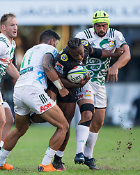 DURBAN, SOUTH AFRICA - MAY 19: S'Busiso Nkosi of the Cell C Sharks on attack during the Super Rugby match between Cell C Sharks and Chiefs at Jonsson Kings Park on May 19, 2018 in Durban, South Africa. Picture Leon Lestrade/African News Agency/ANA