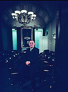 Chairman of the House Ways and Means Committee Wilbur Mills taken in the Ways and Means Committee Room off the floor of the House of Representatives in May 1969.. Assignment for FORTUNE MAGAZINE<br />Photo by Dennis Brack bb72
