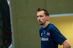 07-05-2019 NED: Press moment national volleyball team Men, Arnhem<br /> Roberto Piazza, the new national coach of the Dutch men's team, gives an overview of the group matches of the Golden European League, the OKT and the European Championship played in their own country. Tim Smit