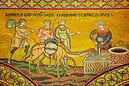 Medieval Byzantine mosaics of Rebecca and Abraham, Monreale Cathedral, Sicily .<br /> <br /> If you prefer you can also buy from our ALAMY PHOTO LIBRARY  Collection visit : https://www.alamy.com/portfolio/paul-williams-funkystock/monrealeduomomosaics.html. Refine search by adding subject etc  into the LOWER SEARCH WITHIN GALLERY box. <br /> <br /> Visit our BYZANTINE MOSAIC PHOTO COLLECTION for more   photos  to download or buy as prints https://funkystock.photoshelter.com/gallery-collection/Roman-Byzantine-Art-Artefacts-Antiquities-Historic-Sites-Pictures-Images-of/C0000lW_87AclrOk