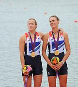 Eton Dorney, Windsor, Great Britain,..2012 London Olympic Regatta, Dorney Lake. Eton Rowing Centre, Berkshire[ Rowing]...Description;   Women's Pair, medals presentation  .Gold Medalist and Centre. GBR W2- Helen GLOVER (b) , Heather STANNING (s).Silver Medalist and Left. AUS.W2- Kate HORNSEY (b) , Sarah TAIT (s).Bronze Medalist and right.  NZL W2- Juliette HAIGH (b) , Rebecca SCOWN (s)  Dorney Lake. 12:27:03  Wednesday  01/08/2012.  [Mandatory Credit: Peter Spurrier/Intersport Images].Dorney Lake, Eton, Great Britain...Venue, Rowing, 2012 London Olympic Regatta...