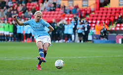 Manchester City's Claire Emslie scores during the penlaty shoot out during the FA Women's Continental League Cup final at Bramall Lane, Sheffield.