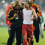 Galatasaray's co trainer Tugay KERIMOGLU (L) and Ayhan AKMAN (R) during their Turkish Superleague Derby match Besiktas between Galatasaray at the Inonu Stadium at Dolmabahce in Istanbul Turkey on Saturday, 30 April 2011. Photo by TURKPIX
