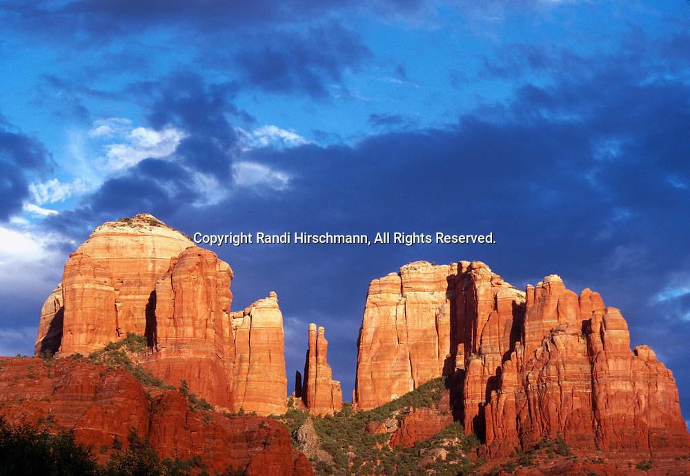 Sunset on Cathedral Rocks, Coconino National Forest near Sedona, Arizona.