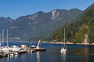 """The sailboat """"Salt Peter"""" comes in to dock at Sewell's Marina.  Photographed from the Public Dock at Horseshoe Bay in West Vancouver, British Columbia, Canada. Howe Sound and Saint Mark's Summit, Unnecessary Mountain, Mount Harvey, Brunswick Mountain (of the  Pacific Ranges and Coast Mountains) are in the background."""