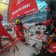 Leg 3, Cape Town to Melbourne, day 03, Southern Ocean Xabi Fernandez, Sophie Ciszek, Rob Greenhalgh  on board MAPFRE. Photo by Jen Edney/Volvo Ocean Race. 16 December, 2017.