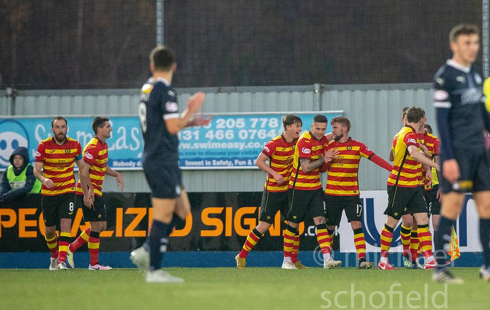Partick Thistle's Craig Slater (17) cele scoring their goal. Falkirk 1 v 1 Partick Thistle, Scottish Championship game played 17/11/2018 at The Falkirk Stadium.