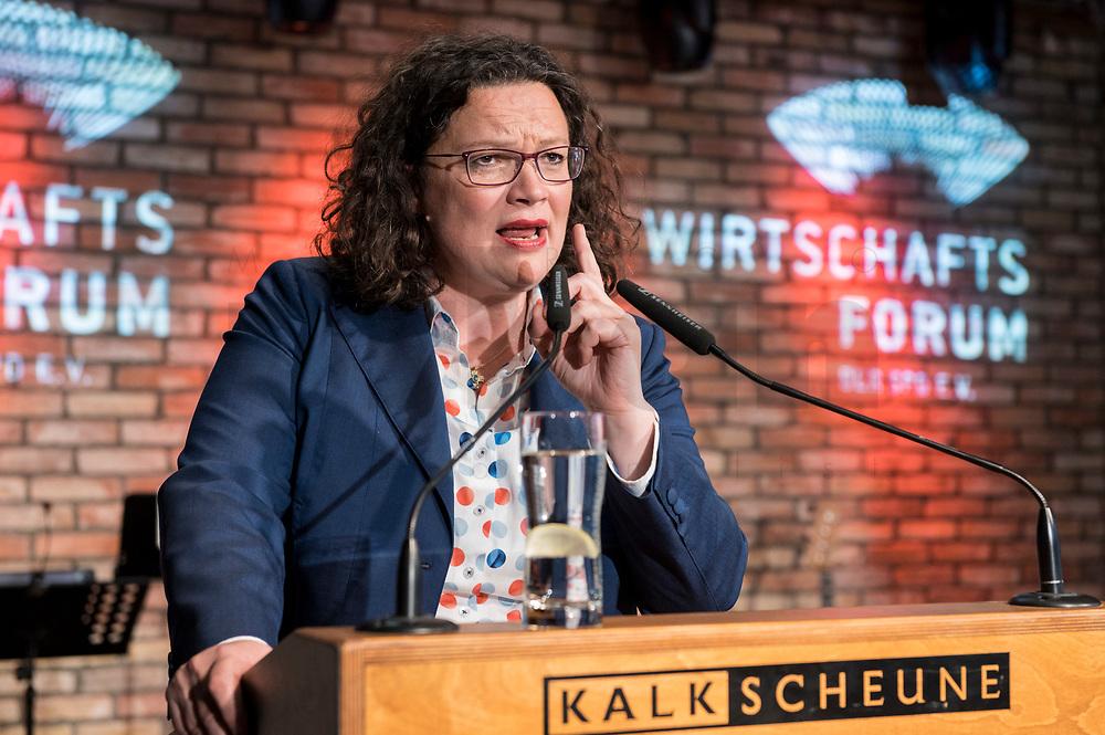 09 MAY 2019, BERLIN/GERMANY:<br /> Andrea Nahles, SPD Partei- und Fraktionsvorsitzende, Wirtschaftskonferenz und Parlementarischer Abend, Wirtschaftsforum der SPD, Kalkscheune<br /> IMAGE: 20190509-01-287