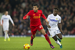 Halbfinale im Liga-Pokal Liverpool vs Leeds 1:0 in Liverpool / 291116<br /> <br /> ***LIVERPOOL, ENGLAND 29TH NOVEMBER 2016:<br /> Liverpool midfielder Emre Can cenre keeps the ball from Leeds United midfielder Ronaldo Vieira during the English League Cup soccer match between Liverpool and Leeds at Anfield Stadium in Liverpool England November 29th 2016***