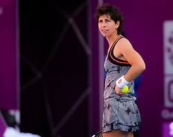 February 12, 2019 - Doha, QATAR - Carla Suarez Navarro of Spain in action during the first round of the 2019 Qatar Total Open WTA Premier tennis tournament (Credit Image: © AFP7 via ZUMA Wire)