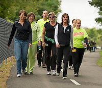 """The Patrick's Pub and Eatery group """"Takes the Trail Fun Walk"""" during Saturday's WOW Fest 2012.  (Karen Bobotas/for the Laconia Daily Sun)"""