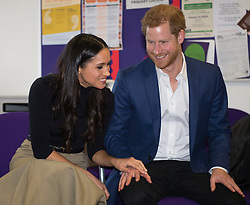 Prince Harry and Meghan Markle visit Nottingham Academy, Nottingham, UK, on the 1st December 2017. Picture by Andy Stenning/WPA-Pool. 01 Dec 2017 Pictured: Meghan Markle, Prince Harry. Photo credit: MEGA TheMegaAgency.com +1 888 505 6342
