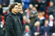 Liverpool Manager Jurgen Klopp (r) and Zeljko Buvac,  the Liverpool First Assistant Coach look on prior to kick off. Premier League match, Liverpool v Huddersfield Town at the Anfield stadium in Liverpool, Merseyside on Saturday 28th October 2017.<br /> pic by Chris Stading, Andrew Orchard sports photography.