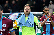 Scunthorpe United goalkeeper Jak Alnwick (25) in the zone prior to the EFL Sky Bet League 1 match between Scunthorpe United and Plymouth Argyle at Glanford Park, Scunthorpe, England on 27 October 2018. Pic Mick Atkins