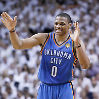 21 June 2012: Oklahoma City Thunder point guard Russell Westbrook (0) reacts during the Miami Heat 121-106 victory over the Oklahoma City Thunder, in Game 5 of the 2012 NBA Finals, at the AmericanAirlinesArena, Miami, Florida, USA. The Miami Heat wins the series 4-1.