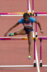 USA's Christina Manning on her way to winning heat 2 of the Women's 100 Hurdles Semi Final during day eight of the 2017 IAAF World Championships at the London Stadium. PRESS ASSOCIATION Photo. Picture date: Friday August 11, 2017. See PA story ATHLETICS World. Photo credit should read: Jonathan Brady/PA Wire. RESTRICTIONS: Editorial use only. No transmission of sound or moving images and no video simulation.