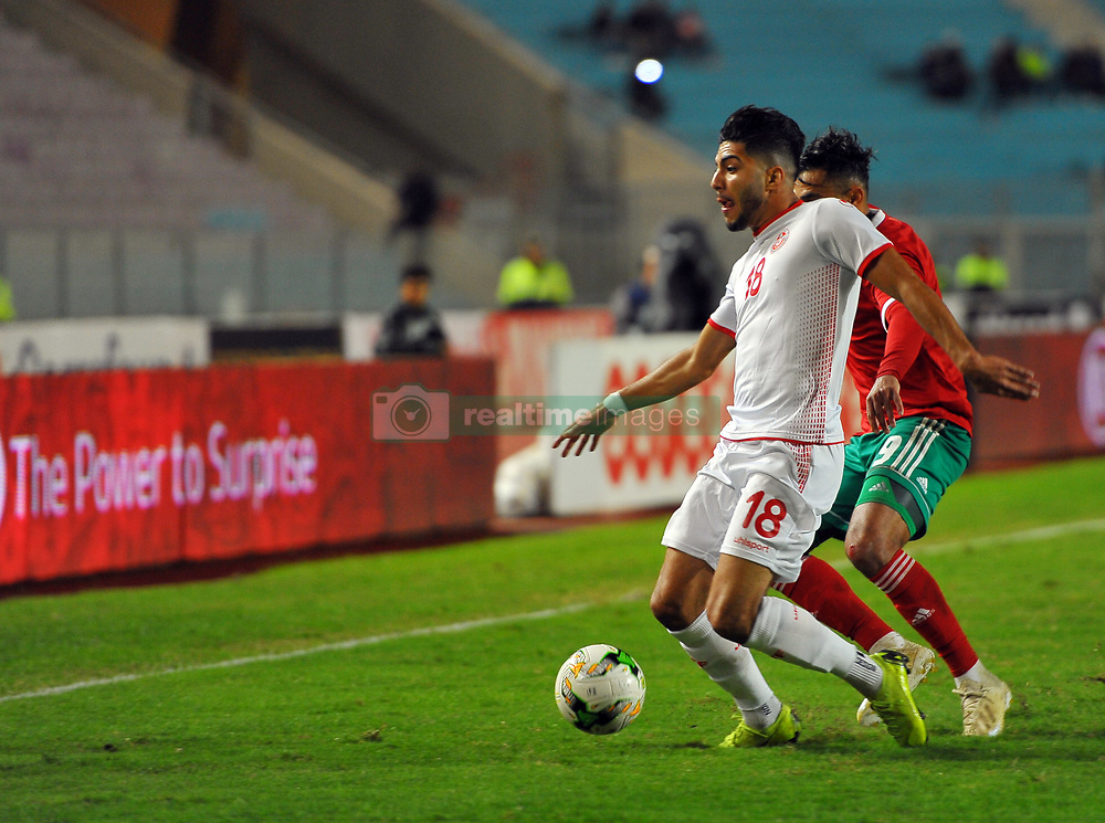 November 20, 2018 - Tunis, Tunisia - Soufiane Boufal (9)Moroccan players and Bassam Srarfi(18) during friendly Match between Tunisia and Morocco already qualified for the African Continental Tournament at the Olympic Stadium in Rades. (Credit Image: © Chokri Mahjoub/ZUMA Wire)