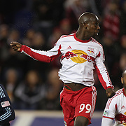 Bradley Wright-Phillips, New York Red Bulls, heads the winning goal in the 90th minute to lead his side to a 2-1 victory during the New York Red Bulls V Sporting Kansas City, Major League Soccer Play Off Match at Red Bull Arena, Harrison, New Jersey. USA. 30th October 2014. Photo Tim Clayton