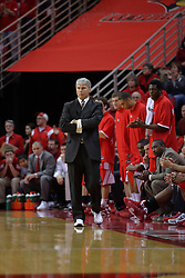 """31 January 2009: Braves coach Jim Les. The Illinois State University Redbirds join the Bradley Braves in a tie for 2nd place in """"The Valley"""" with a 69-65 win on Doug Collins Court inside Redbird Arena on the campus of Illinois State University in Normal Illinois"""