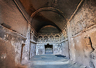 Interior view of the early Christian rock cchurch cut into volcanic rock. 8th-9th cent AD. Cathedral of Selime in Cappadocia, Ilhara Vallet, Turkey