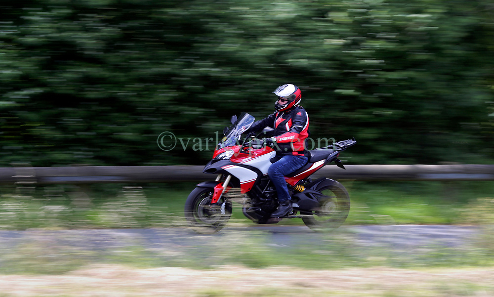 14 June 2019. Pas de Calais, France.<br /> Mucking about with bikes. Great fun shooting Chris Jago and his 1200cc Ducati Multistrade around the country lanes of Hauts de France.<br /> Photo©; Charlie Varley/varleypix.com