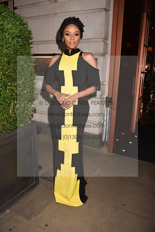 Bonang Matheba at the Nelson Mandela Foundation Gala Dinner, Rosewood, London England. 24 April 2018.