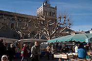 main square in Die village in winter