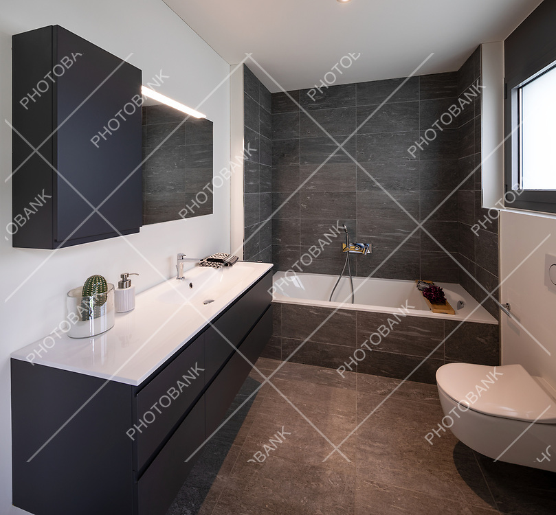 Interior of an empty and luxurious modern bathroom, nobody inside. It is a private home